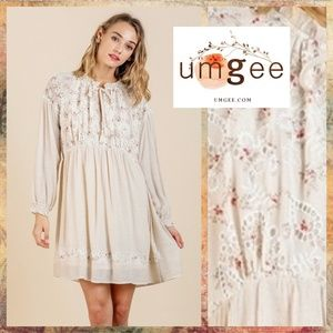 Umgee Babydoll Dress Floral Crochet Ruffle Details
